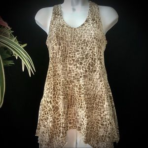 h.i.p. Brown/Cream Swing Top w/Knotted Back